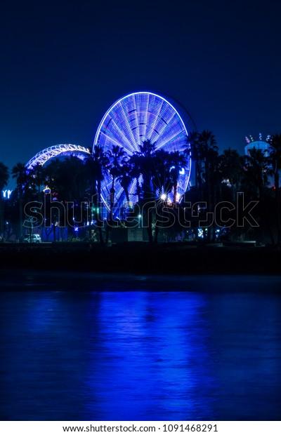 July 18, 2017 VENTURA CALIFORNIA - Illuminated ferris wheel with neon lights at the Ventura County Fair, Ventura, California
