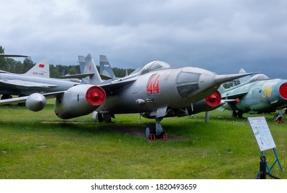 July 18, 2018, Moscow region, Russia. Soviet supersonic front-line bomber Yakovlev Yak-28 at the Central Museum of the Russian Air Force in Monino.