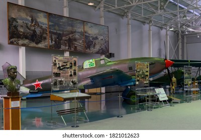 July 18, 2018, Moscow region, Russia. Soviet attack aircraft  Ilyushin Il-10 at the Central Museum of the Russian Air Force in Monino.