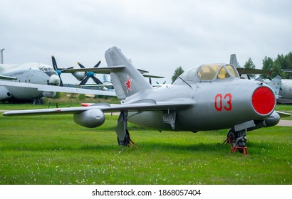July 18, 2018, Moscow region, Russia.  Jet fighter aircraft Mikoyan-Gurevich MiG-15 at the Central Museum of the Russian Air Force in Monino.
