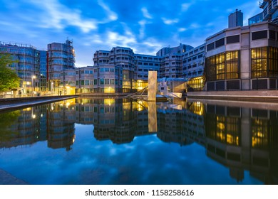 July 18 2018 - Zoetermeer, the Netherlands. General Intelligence and Security Service (Dutch: Algemene Inlichtingen- en Veiligheidsdienst (AIVD) futuristic office building during dusk.