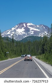 JULY 19 2016 - BEND, OREGON: Driving along the Cascade Lakes National Scenic Byway in Bend Oregon on a clear sunny summer day
