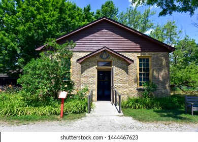 JULY 19, 2016 - LONDON, ONTARIO, CANADA:  FANSHAWE PIONEER VILLAGE IS A POPULAR SUMMER ATTRACTION IN SOUTHWESTERN ONTARIO.  A FORMER SCHOOL, HISTORIC MOUNT MORIAH MASONIC LODGE IS LOCATED ON THE SITE.
