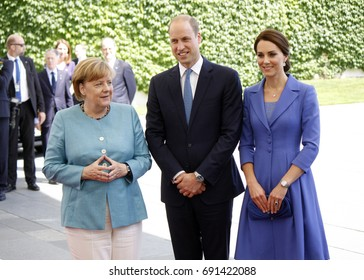 JULY 19, 2017 - BERLIN: Angela Merkel, Prince William with Kate - meeting of the German Chancellor with the British Royal couple, Chanclery, Berlin.