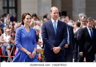 JULY 19, 2017 - BERLIN: Prince William with Kate - the British Royal couple in front of the Brandenburg Gate, Berlin.