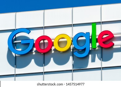 July 19, 2019 Sunnyvale / CA / USA - Google logo displayed at one of their office buildings in Silicon Valley; South San Francisco bay area