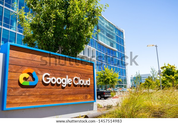 July 19, 2019 Sunnyvale / CA / USA - Close up of Google Cloud sign displayed in front of their headquarters in Silicon Valley; South San Francisco bay area