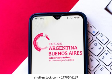 July 19, 2020, Brazil. In this photo illustration the Expo 2023 (2023 Buenos Aires) logo seen displayed on a smartphone
