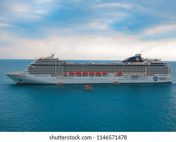 July 1st, 2014. Cannes, France. MSC Musica docked off shore.