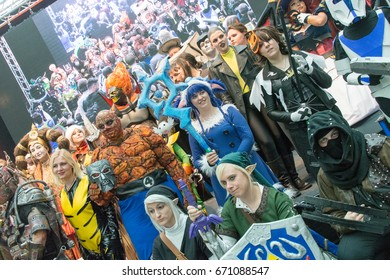July 1st 2017. Stuttgart, Germany. Cos-players show off their talents and costumes at a Cosplay contest at Comic Con Stuttgart. The event also featured celebrities, comic artists & signing sessions.