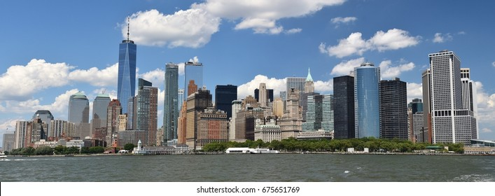 July 2, 2017; Manhattan, New York, USA: The skyline of skyscrapers in downtown Manhattan from New York Harbor.