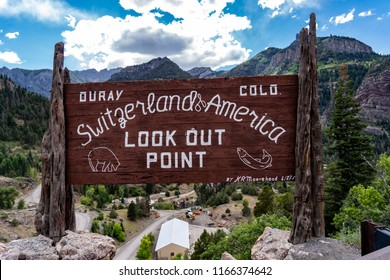 JULY 2 2018 - OURAY, COLORADO: Welcome sign for Ouray Colorado, located along the Million Dollar Highway in the San Juan National Forest. Claims to be Switzerland of America