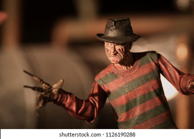JULY 2 2018:  Recreation of a scene from A Nightmare on Elm Street with Freddy Krueger lurking in his boiler room ready to haunt your dreams - NECA action figure