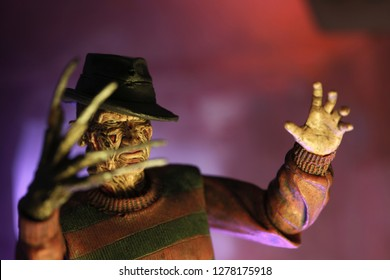 JULY 2 2018: Recreation of a scene from A Nightmare on Elm Street with Freddy Krueger lurking in his boiler room ready to haunt your dreams - NECA action figure - Image
