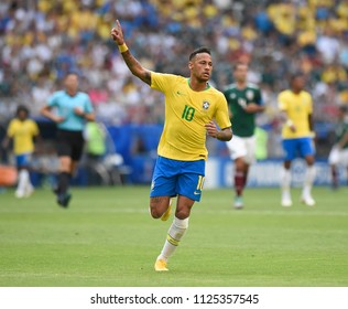 July 2, 2018 - Samara, Russia: Neymar of Brazil celebrates after his team eliminated Mexico from the World Cup round of 16, winning the match 2 - 0. Neymar scored the first goal and made the assist fo