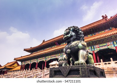 July 20, 2014: A Chinese Lion protecting the Forbidden City in Beijing, China