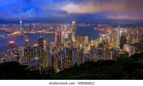 July 20, 2015 in Hong Kong- a cityscape view of Hong Kong Downtown in evening twilight