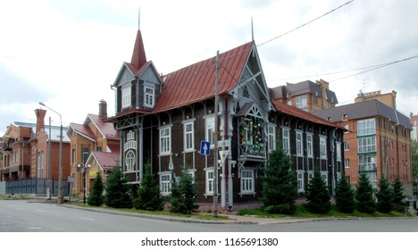 July 20, 2017 Tomsk, Siberia, Russia. Unique site of wooden architecture, XVIII - XX Centuries. Rare and well-preserved examples of Art Nouveau (Art Moderne, Secession) wooden architecture in Siberia.