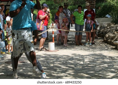 """July 20, 2017 Tunisia. Dance show Zulus in the zoo """"Friguia"""". This a open event no need press credentials required."""