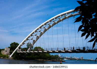 July 20, 2019: Toronto - View of Humber Bay arch bridge on a clear sunny day. The bridge is a part of Martin Goodman Trail.