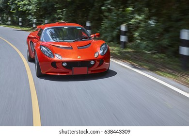 July 2007, Nakhon Ratchasima, Thailand : Red Lotus Exige test drive on mountain.