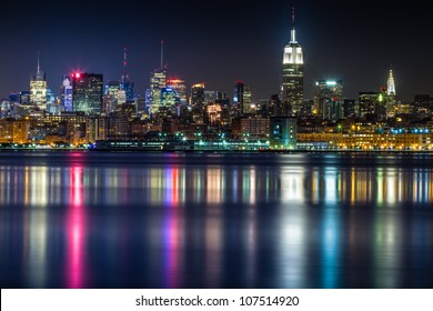 July 2012. Night view of Midtown Manhattan skyline across the Hudson River from Jersey City, NJ.