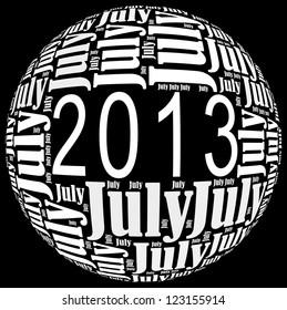 July 2013 info-text graphics arrangement on black background