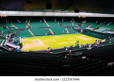 JULY 2013 - LONDON, UK: Inside Wimbledon tennis stadium at centre court.