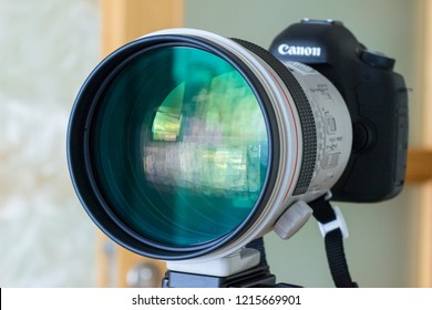 July 2014: Canon Luxury telephoto lens attached to Canon digital camera.