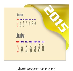 July 2015 calendar with past month series