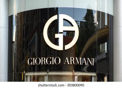 JULY 2015 - HONG KONG: the logo of the brand Giorgio Armani