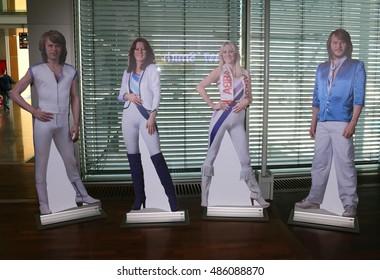 "JULY 2016 - STOCKHOLM: figures of the members of the Swedish pop band ""ABBA"": Benny Andersson, Anni-Frid Lyngstad, Agnetha Faeltskog, Bjoern Ulvaeus - Airport Stockholm, Schweden."