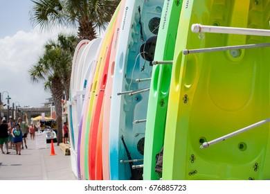 July 2017, Destin,FL: Perception Tribe Kayaks seen in the Destin HarborWalk Village