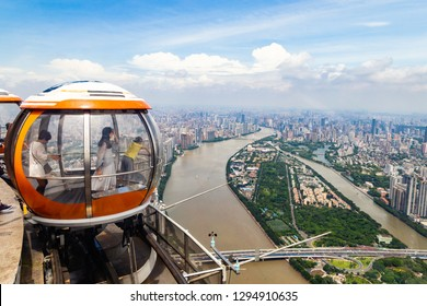 July 2017 – Guangzhou, China - Bubble tram on the top of Canton tower in Guangzhou, at 455m elevation, seen from inside one of the bubbles. Canton Tower is the second tallest tower in China