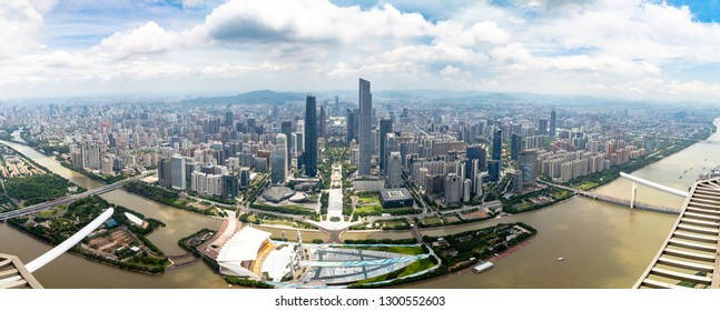 July 2017 – Guangzhou, China – Panoramic view of Guangzhou central business district and of the Pearl River from the 488m observation deck of the Canton Tower, the second highest tower of China