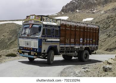 July 2017 , Himalaya, road Manali to Leh, Ladakh, Indian truck transports goods to Leh,