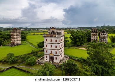July 2017 – Kaiping, China - Kaiping Diaolou in Zili Village, near Guangzhou. Built by rich overseas Chinese, these family houses are a unique mix of Chinese and western architecture