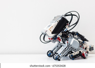 July, 2017. Minsk, Belarus. Stem education. Lego EV3 Mindstorms dog.  Cyber Lego dog. Robot. Robotics. Symbol of New year 2018.