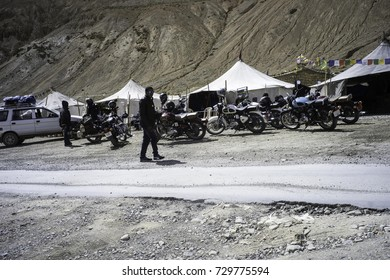 July 2017, on the road from Manali to Leh , Ladakh, bikers having a tea break at some tea stalls on the side of the road...