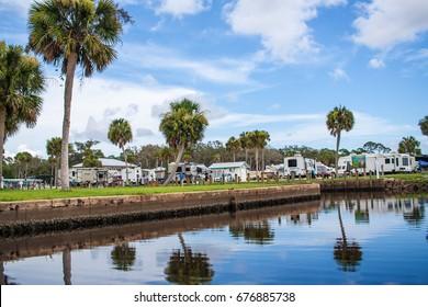 July 2017, Port St. Joe, Florida: An RV resort in the Port St. Joe along the St. Joseph's Bay