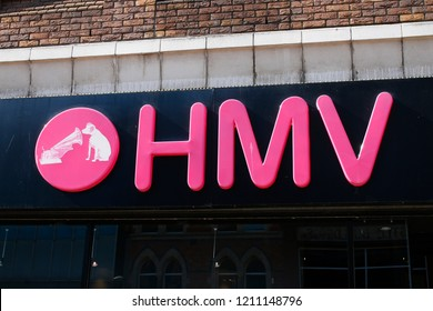 "JULY 2018 - BELFAST: the logo of the brand ""HMV""."