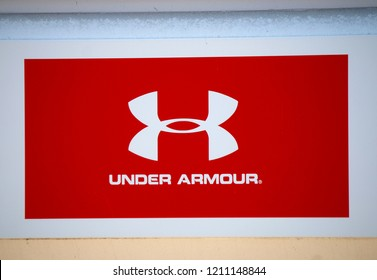"JULY 2018 - BELFAST: the logo of the brand ""Under Armour""."