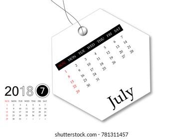 July 2018 - Calendar series for tag design