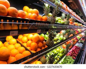 July, 2018 - Fruits on shelf in the market.