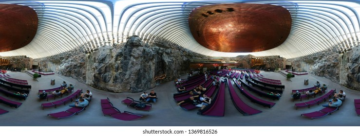 JULY 2018 - HELSINKI: 420 x 180 degree panorama: Rock Church: Temppeliaukio.