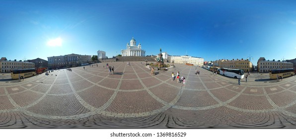 JULY 2018 - HELSINKI: 420 x 180 degree panorama: Cathedral, Senate Square.