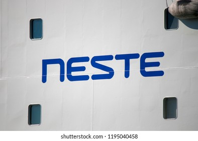 "JULY 2018 - HELSINKI: the logo of the brand ""Neste""."