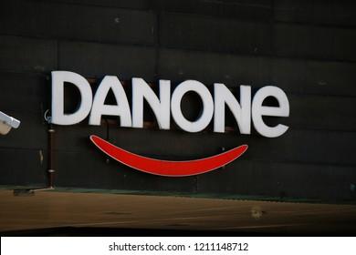 "JULY 2018 - HELSINKI: the logo of the brand ""Danone""."