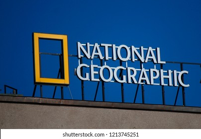 "JULY 2018 - HELSINKI: the logo of the brand ""National Geographic""."