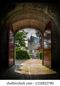 July 2018, the Netherlands. Entrance gate to the Burcht of Leiden, stronghold of the medieval city.